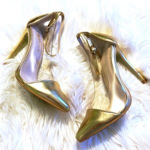 Gold & PVC Pointy Toe Ankle Strap Pumps ✨